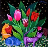 Flowers, cats- by L. Koday