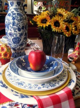 Sunflowers with Blue and White China