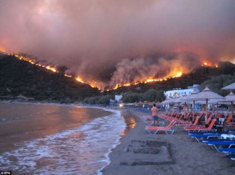 Wild Fires hit Greek Islands