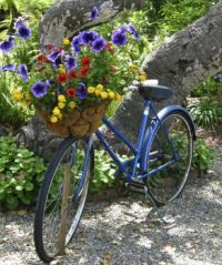 Blue blicycle with basket of flowers