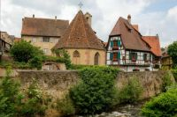 Half-timbered and stone houses in Kaysersberg-Vignoble, Alsace, France