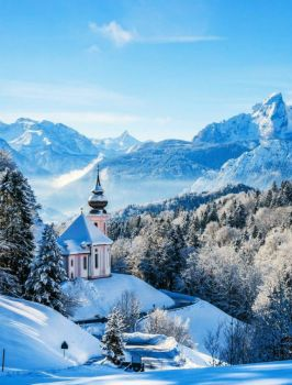 Little Chapel In The Winter -- Bavarian Alps....