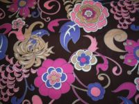 Mystery fabric: groovy flowers in a herringbone weave...what could it be?