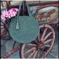 Circle bag, wagon and flowers