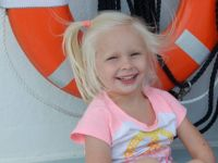 Lily on the shipwreck boat in Alpena