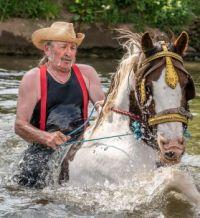Jobby Law, on a cob named Rosie--Appleby Horse Fair 2016