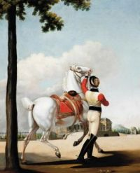 Circle of Alfred de Dreux (French, 1810–1860), Preparing for a Ride at Schloss Monrepos