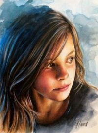 Watercolor, Colored Pencil Portrait.