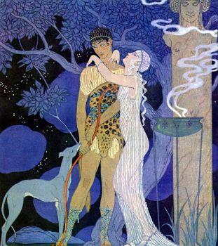 Geroges Barbier (1882-1932) - Venus and Adonis (aka Phaedra and Hippolytus), 1920