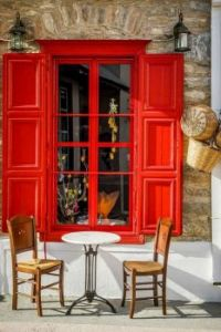 Vibrant Red Coffee Shop, Greece
