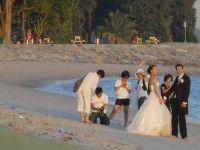 A wedding photo shoot at the beach