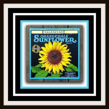 Just sunshine and happiness - Vintage Sunflower Fruit Crate Label