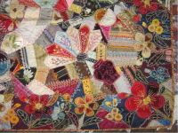 Crazy Quilt with Red Flowers