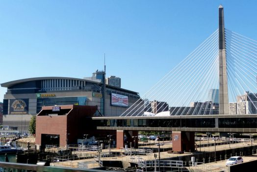 Bruins Stadium and Leonard P. Zakim Bunker Hill Memorial Bridge in Boston