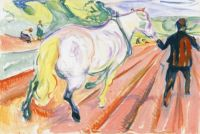 Edvard Munch, Horse and Man in the Field (c.1920)