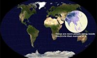 More than 1/2 the world's population lives within this circle
