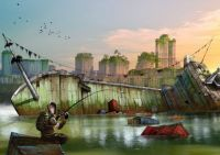man_fishing_rod_river_boat_city_houses