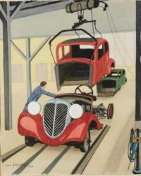 Carl Grossberg (German, 1894–1940), Automobilwerk (1936)