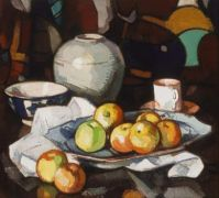 Samuel Peploe (Scottish, 1871–1935) , Still Life, Apples and Jar