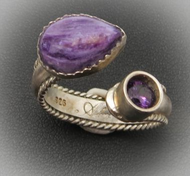 Sterling Ring with Amethyst and Charoite