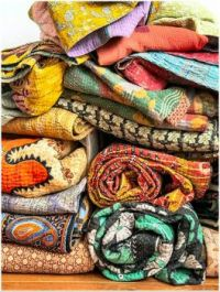 Vintage Indian Sari Fabrics in Kantha Style
