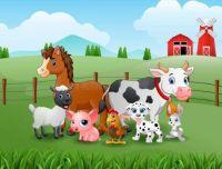 Happy Farm Animals in the Hills