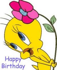 "Our little Tweety says, ""Happy B-day, too!"""