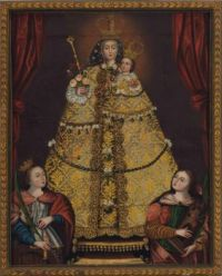 """""""Our Lady of Guapulo with Saint Catherine of Alexandria"""", unknown artists, Peruvian School, 18th Century"""
