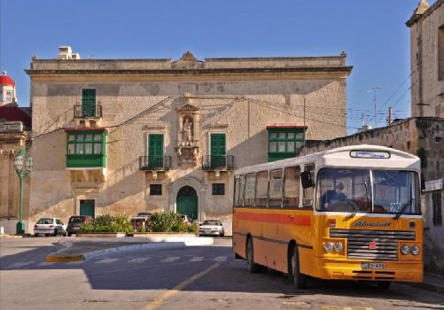 Bus in Zejtun, Malta waiting to start it's journey to Valletta, Malta