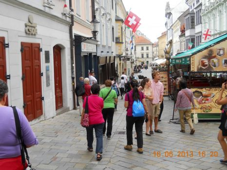 Walking along a touristy section of central  Vienna
