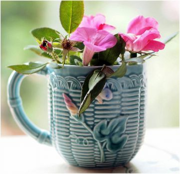 Blue Mug with Pink Flowers by Majlee on Flikr