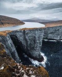 Lake above the ocean in Faroe Islands