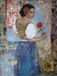 Lady Admiring Her Flower  - Francois Fressinier