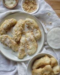 Kib Txiv Tsawb Nrog Kua Maj Phaub Qab Zib : Hmong Fried Bananas w/ Coconut Cream