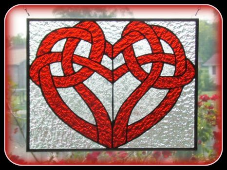 Celtic Heart Stained Glass Window