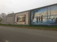Murals on the flood wall in Portsmouth, Ohio.