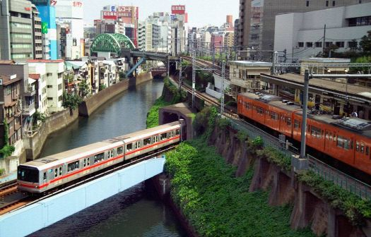 Tokyo trains from Cafe Lumiere