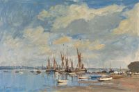 Edward Seago Thames barges assembled at Pin Mill