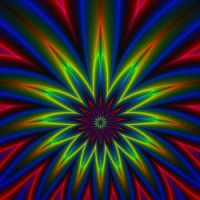 Floral Star burst in Red Yellow Green and Blue