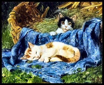 Two Kittens by Julius Adam (1852-1913)
