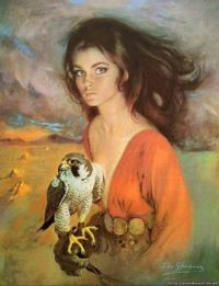 """Girl Holding Peregrine On Glove"""