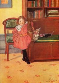 Carl Larsson 'Little Girl With Her Dolls In Her Father's Library'