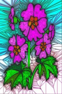 STAINED GLASS FLOWER B67