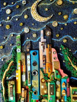 Mixed Media Urban Neighbourhood, Artist, Silvia Logi