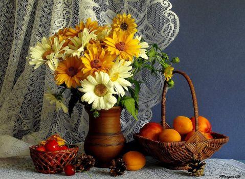 Daisies & Fruit Still Life