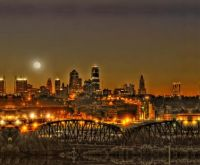 Moon Over Kansas City Mo  USA