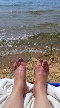 Feet on Lake Michigan