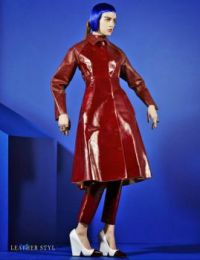 woman red leather coat