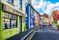 Street in Kinsale, a historic port and fishing town in County Cork, Ireland
