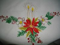 This is ¼ of the Christmas tablecloth I cross-stitched.